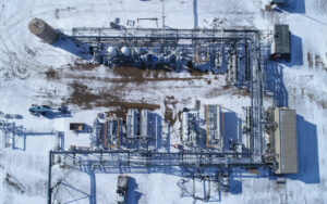 Aerial image of helium recovery facility in Saskatchewan